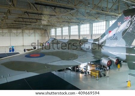 DONCASTER, UK - APRIL 2016: The Vulcan Bomber XH558 in her home at Robin Hood Airport.