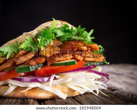 Doner Kebab - grilled meat, bread and vegetables - stock photo