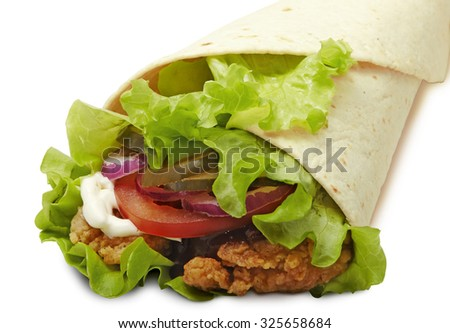 Doner kebab isolated on white with shadow. Pen clipping path included