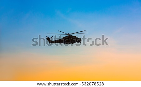 DONETSK REGION, UKRAINE - Dec 05, 2016: Ukrainian army helicopter Mi-24 (NATO reporting name - Hind) during a combat mission in the area of the antiterrorist operation in the Donetsk region