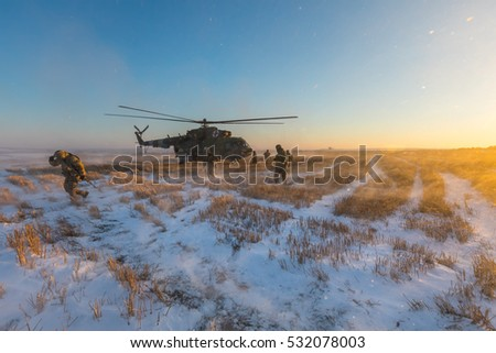 DONETSK REGION, UKRAINE - Dec 05, 2016: Ukrainian army helicopter Mi-8 (NATO reporting name - Hip) during a combat mission in the area of the antiterrorist operation in the Donetsk region