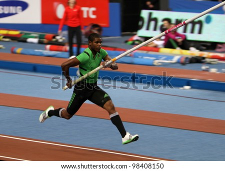 DONETSK, UKRAINE - FEB.11: Borges Lazaro compete in the pole vault competition with the result 5,62 on Samsung Pole Vault Stars meeting on February 11, 2012 in Donetsk, Ukraine