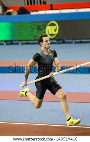 DONETSK,UKRAINE-FEB .09: Renaud; Lavillenie - The Olympic champion 2012 runs up before a jump on Samsung Pole Vault Stars meeting on February 09, 2013 in Donetsk, Ukraine.