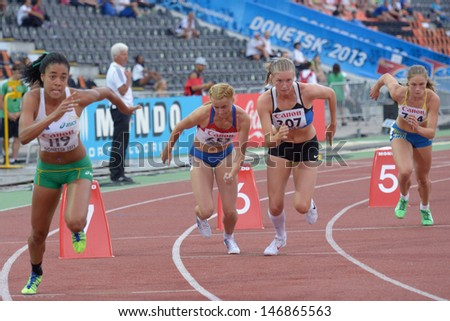 DONETSK, UKRAINE - JULY 13: Girls compete in the 800 metres in Heptathlon girls during 8th IAAF World Youth Championships in Donetsk, Ukraine on July 13, 2013