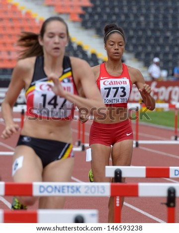 DONETSK, UKRAINE - JULY 11: S. Gonzalez, USA (right) and N. De Coninck, Belgium compete in semi-final of 400 m hurdles during 8th IAAF World Youth Championships in Donetsk, Ukraine on July 11, 2013