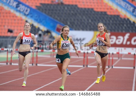 DONETSK, UKRAINE - JULY 13: Swanepoel, South Africa (center), Demes (left) and Jacoby, Germany in final of 400 m hurdles during 8th IAAF World Youth Championships in Donetsk, Ukraine on July 13, 2013