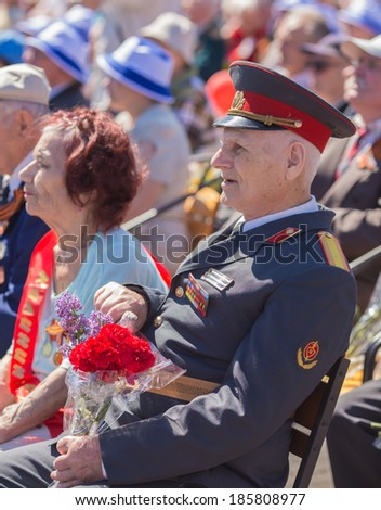 DONETSK, UKRAINE - MAY 9: Unidentified veterans at Victory Monument during the celebration of Victory Day on May 9, 2013 in Donetsk, Ukraine.