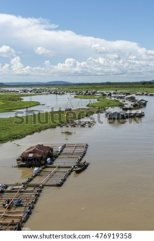 DONG NAI - VIETNAM: May 20, 2016: Group of floating house on La Nga river, Dong Nai, Vietnam.