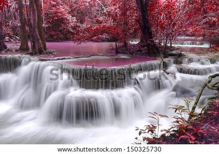 Dong Pee Sua Waterfall,Huay Mae Khamin, Kanchanaburi Province, Thailand  - stock photo