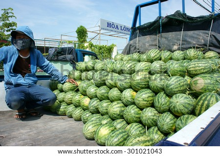 DONG THAP, VIET NAM- JULY 27: Group of Asian farmer working on agriculture field, Vietnamese man harvesting watermelon on water melon plantation to sale for trader, Dongthap, Vietnam, July 27, 2015