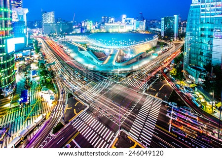 Dongdaemun Design Plaza is a new urban development in Seoul - stock photo
