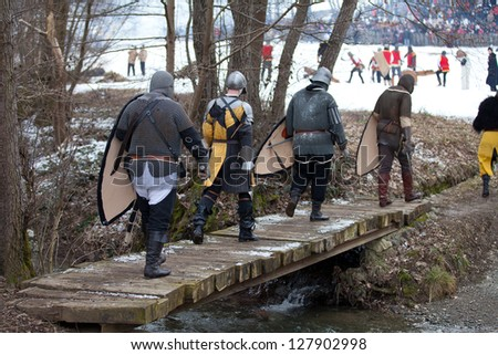 "DONJA STUBICA, CROATIA - FEBRUARY 9: Representation of the Croatian-Slovenian peasant revolt ""Seljacka buna"" of 1573, on February 9, 2013 in Donja Stubica, Croatia."