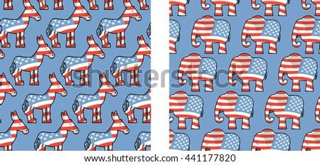 Donkey and elephant symbols of political parties in America. USA elections seamless pattern. Democrats against Republicans. Opposition to policy - stock photo