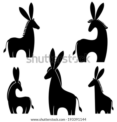 donkey isolated on white background.  illustration  - stock photo