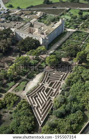 Donnafugata castle and labyrinth from above, Ragusa, Sicily, Italy, Europe
