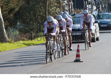 DONORATICO, LIVORNO, ITALY - MARCH 07: Team AG2R La Mondiale during the 1st Team Time Trial stage of 2012 Tirreno-Adriatico on March 07, 2012 in Donoratico, Livorno, Italy - stock photo