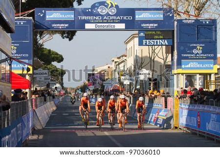 DONORATICO, LIVORNO, ITALY - MARCH 07: Team Euskaltel Euskadi during the 1st Team Time Trial stage of 2012 Tirreno-Adriatico on March 07, 2012 in Donoratico, Livorno, Italy - stock photo
