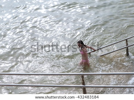 DONOSTIA,SPAIN-JUNE 05, 2016: Teen opens the summer season on the concha beach  on June 05, Donostia,Spain.