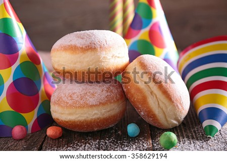 donut and carnival decoration - stock photo