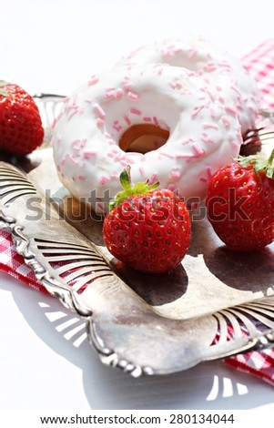 Donut and strawberries