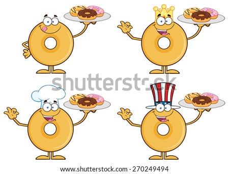Donut Cartoon Character 1. Raster Collection Set Isolated On White - stock photo