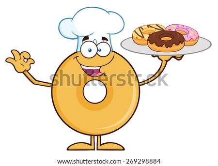Donut Cartoon Character Wearing A Chef Hat And Serving Donuts. Raster Illustration Isolated On White - stock photo