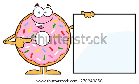 Donut Cartoon Character With Sprinkles Showing A Blank Sign. Raster Illustration Isolated On White - stock photo