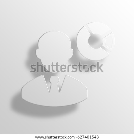 donut chart 3D Paper Icon Symbol Business Concept
