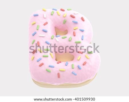 Donut font pink cream. 3d rendering - stock photo