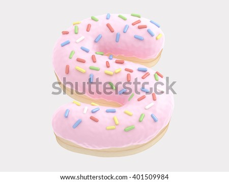 Donut font pink cream. 3d rendering - stock photo