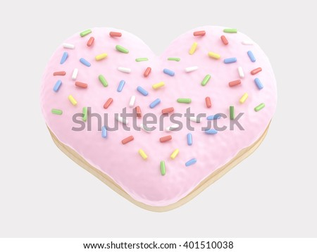 Donut heart pink cream. 3d rendering - stock photo