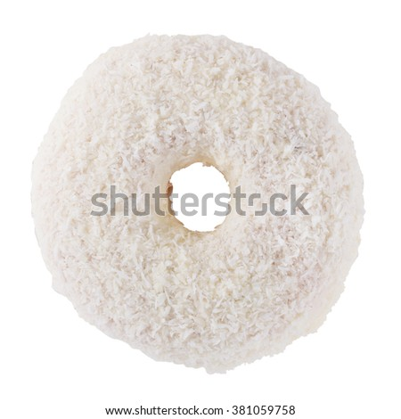 Donut in white frosting and coconut flakes isolated on a white background top view - stock photo