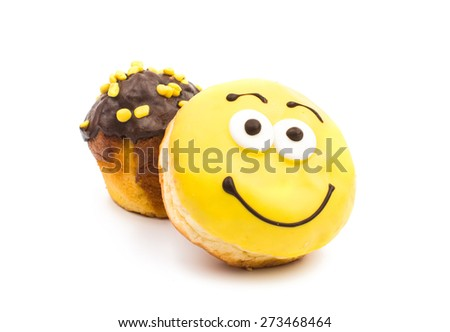 donut muffins on a white background - stock photo