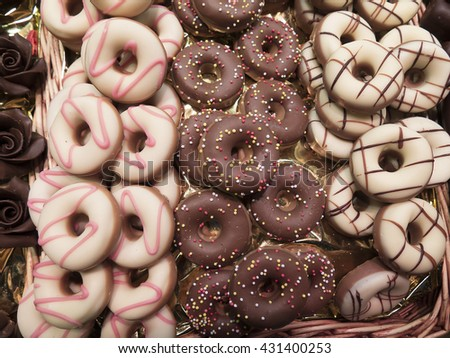 Donut shaped sweets in the market