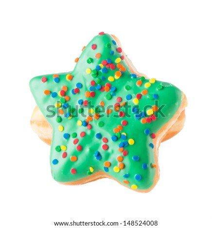 donut. star shape donut on background - stock photo