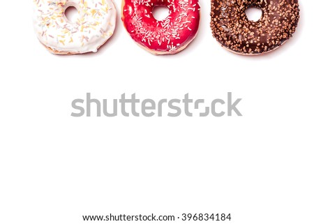 Donut. Sweet icing sugar food. Dessert colorful snack. Glazed sprinkles. Treat from delicious pastry breakfast. Bakery cake. Doughnut with frosting. Baked unhealthy round.  - stock photo