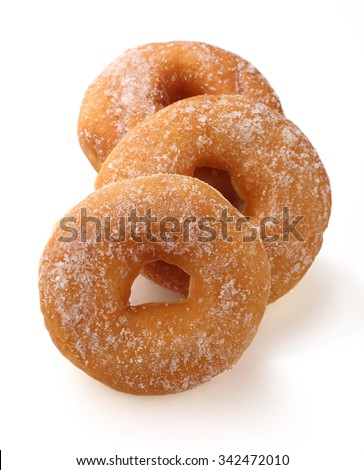 Donut with caster sugar isolated on white