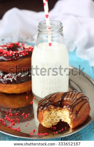 Donut with chocolate and cold milk