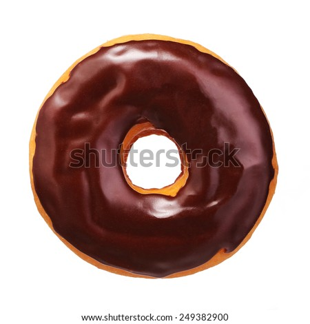 Donut with chocolate glazing isolated on white