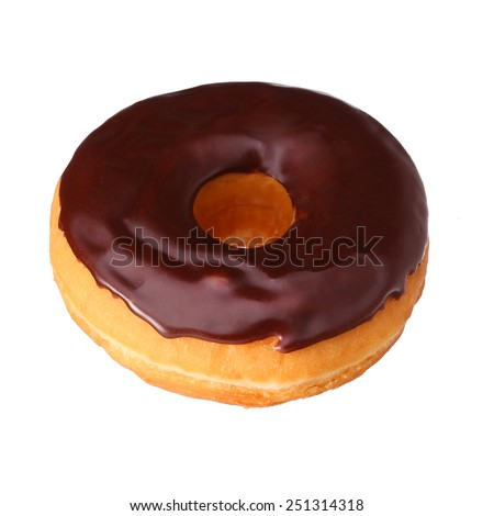 Donut with chocolate glazing isolated on white - stock photo