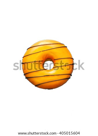 Donut with chocolate isolated on white background - stock photo