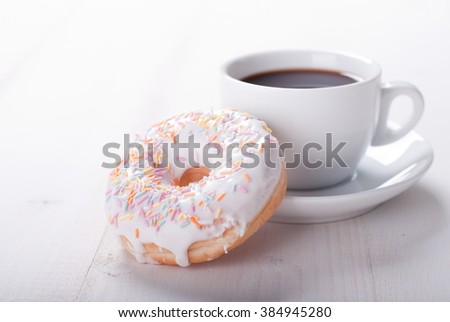 donut with coffee - stock photo