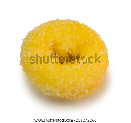 donut with sugar on white background - stock photo