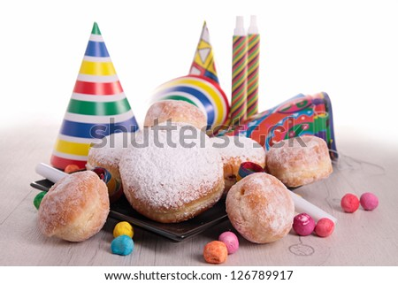 donuts and carnaval decoration