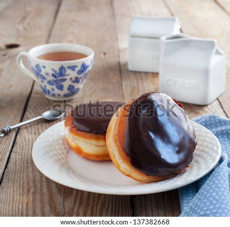 Donuts filled with cream - stock photo