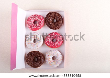 donuts in a box - stock photo