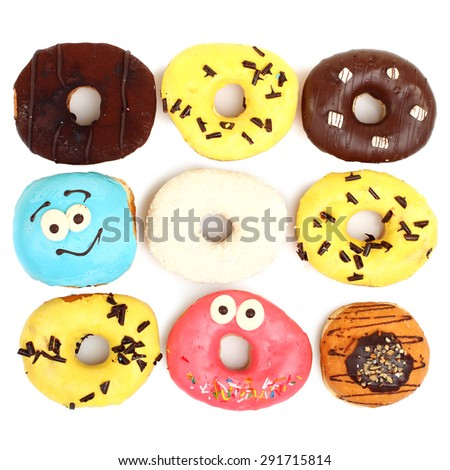 Donuts isolated - stock photo