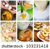 Donuts making collage. Six photos. - stock photo