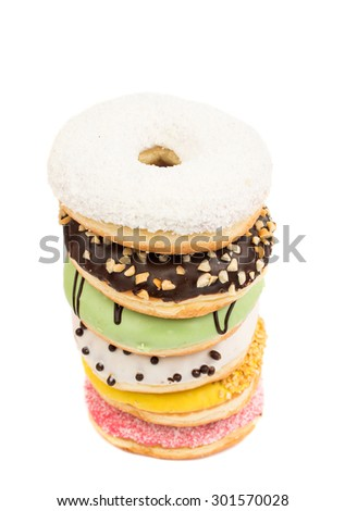 donuts on a white background - stock photo