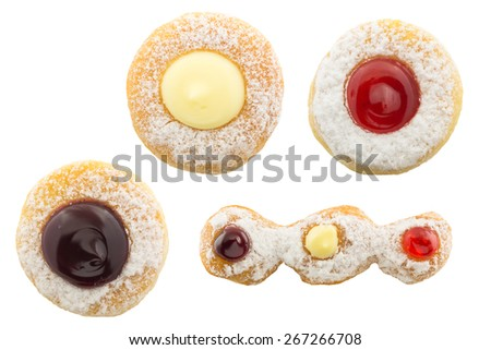 Donuts with jelly collection isolated on white background - stock photo